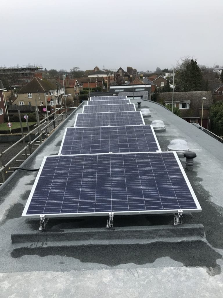 Front view of solar panels installed on Front roof.