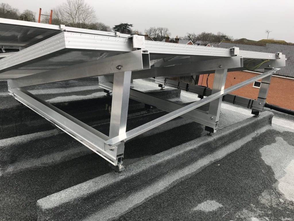 Close up of flat roof mounting system