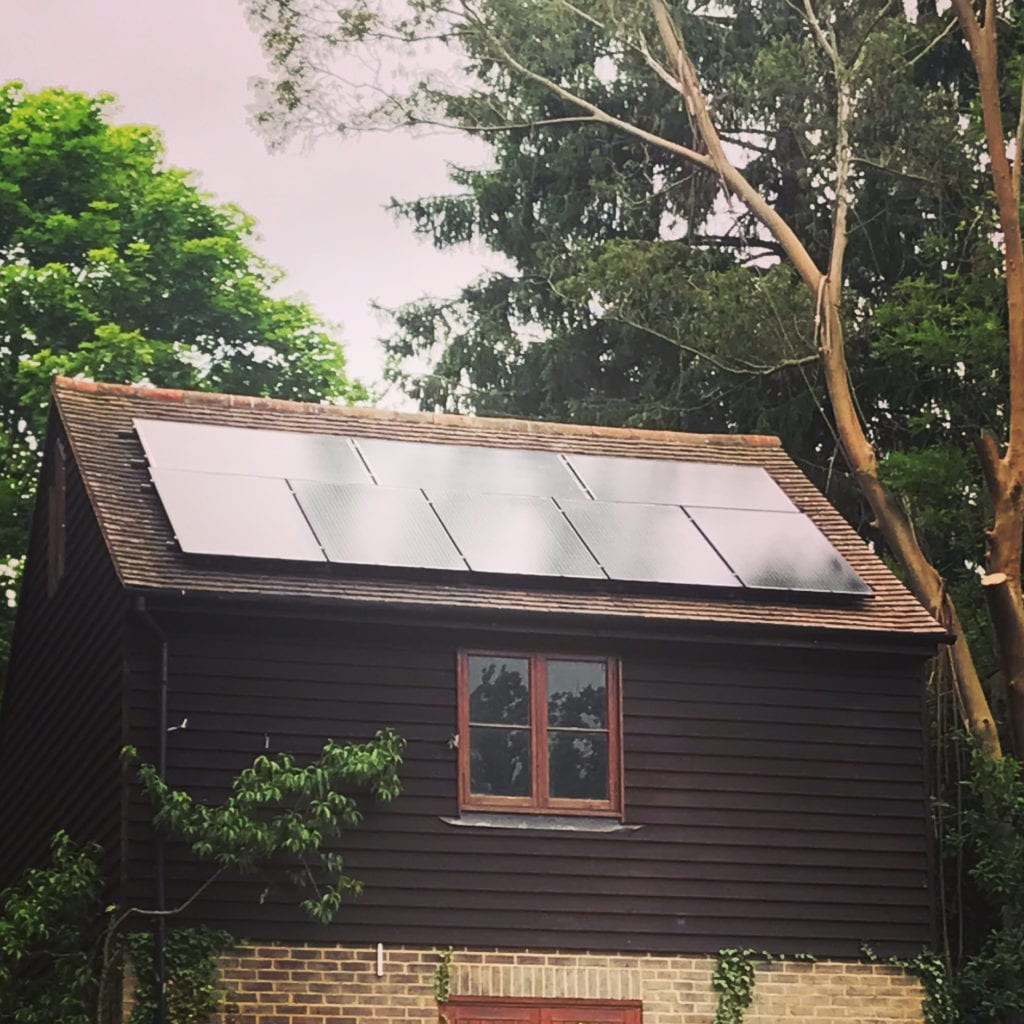 Solar panels installed on the garage in Surrey.