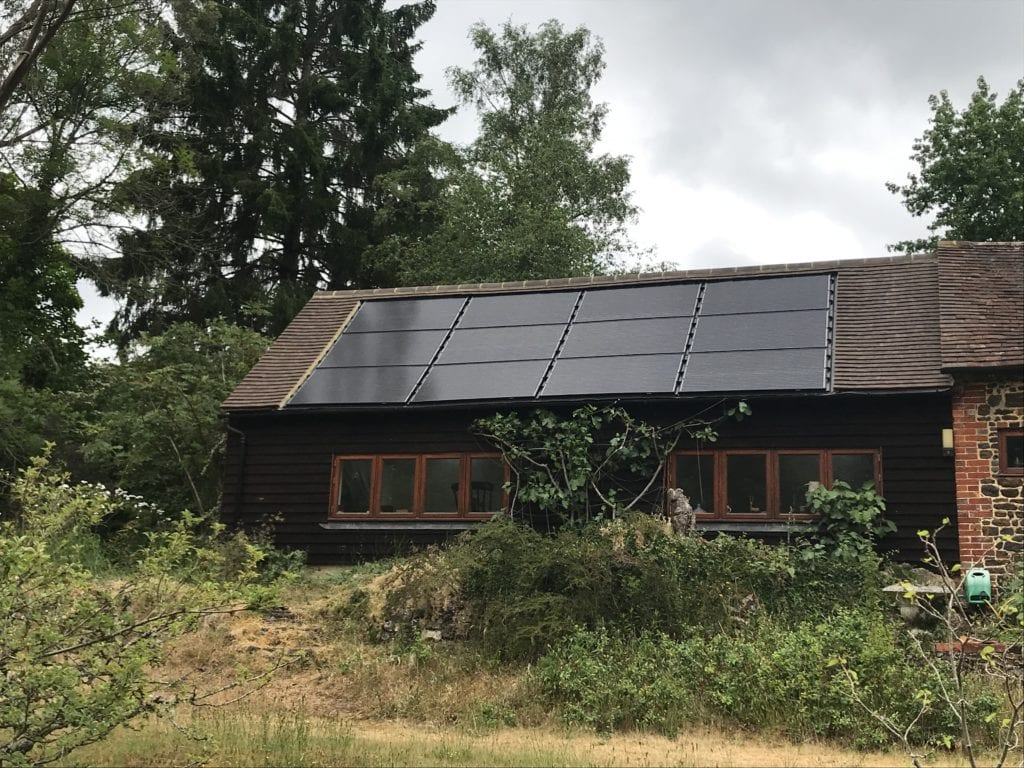 solar panels installed on roof in Surrey.